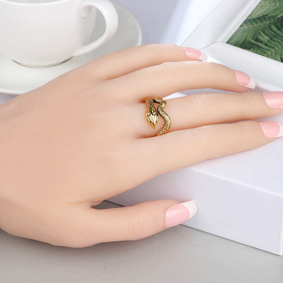 Kinel Fashion Snake Rings For Women Antique Gold Color Heavy Metals Punk Rock Ring Vintage Animal Jewelry Wholesale in Rings from Jewelry Accessories