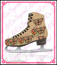 Aidocrystal hot sale butterfly pattern crystal covered ice skating shoes,ice dancing shoes,figure skating shoes