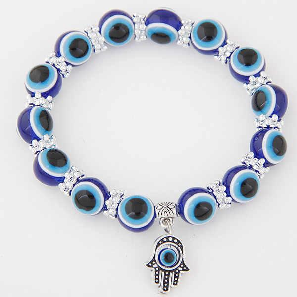 Đầy màu sắc Thổ Nhĩ Kỳ Evil Eye trang sức Vòng Đeo Tay mạ bạc Resin Hamsa Charm Bracelet Bangles Cho Nam Giới Womens pulseira masculina