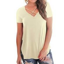 2019 Summer t shirt Cross V-neck Short Sleeve Loose women Casual Comfortable Cotton