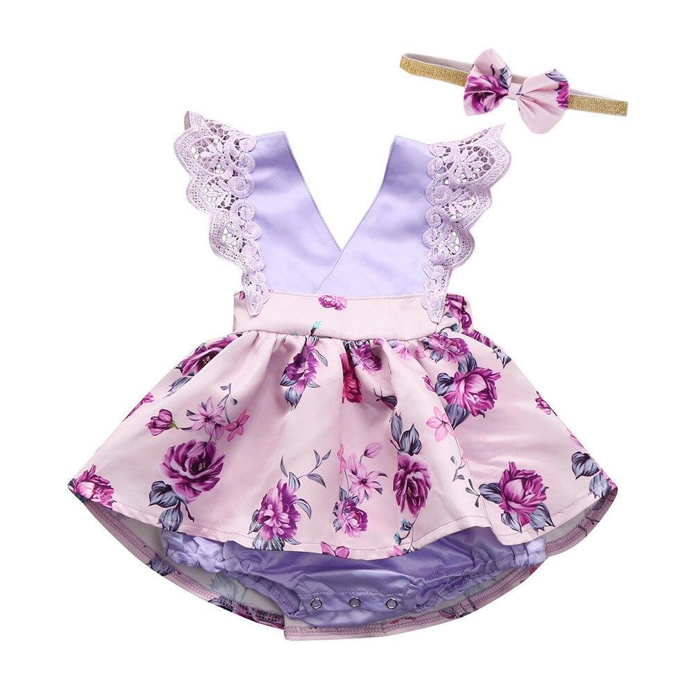 ARLONEET Mädchen Kleid Prinzessin Baby Ballkleid Kleid Ärmelloses Kleid + Stirnband A-linie Minikleid 3 bis 18 Monate Drop verschiffen 30S46