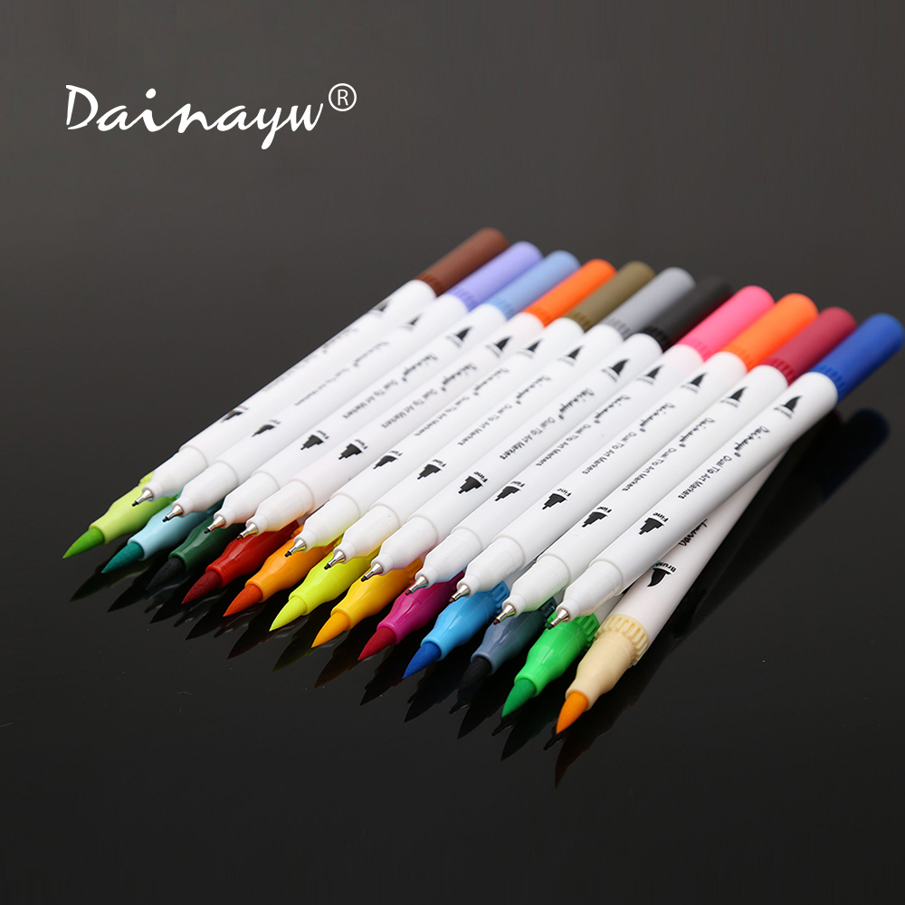Dainayw 24 Colors 0 4mm Fineliner Water based ink Dual Head Sketch Markers Brush Pen For