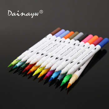 Dainayw 24 Colors 0.4mm Fineliner Water based ink Dual Head Sketch Markers Brush Pen For Draw Coloring Books Design Art Supplies - DISCOUNT ITEM  30% OFF All Category