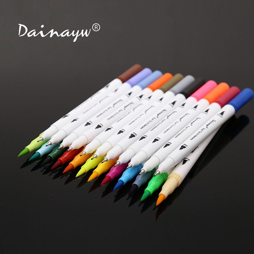 Dainayw 24 colores 0,4mm Fineliner tinta a base de agua doble cabeza Sketch marcadores pincel pluma para dibujar libros de colorear diseño arte suministros