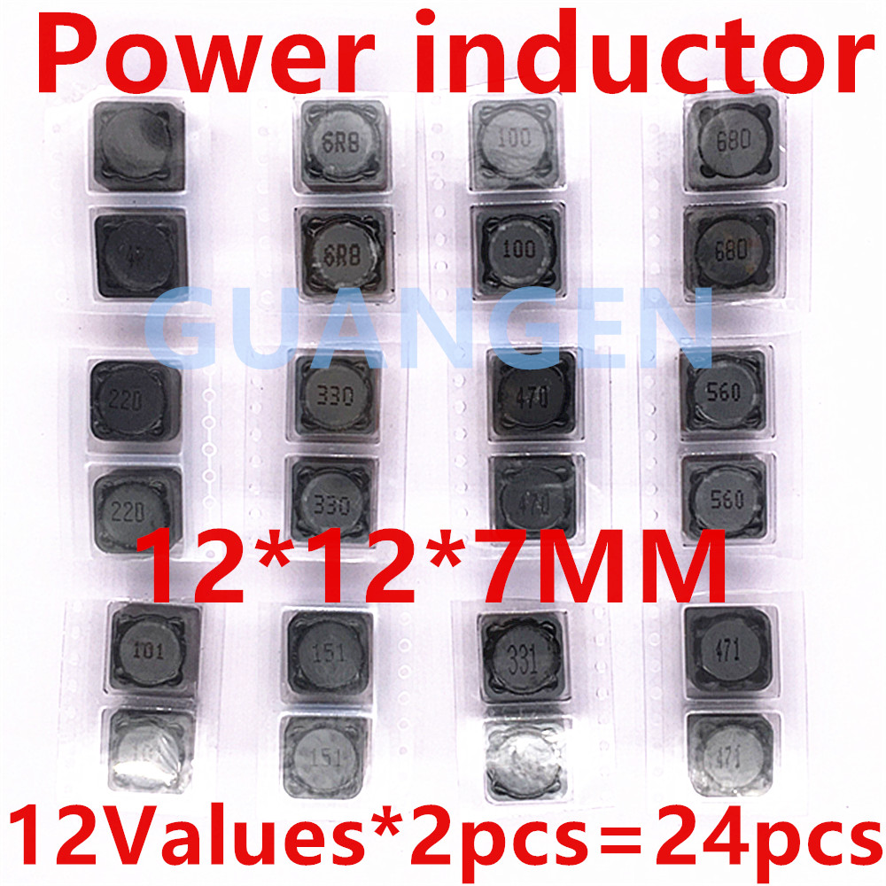 24pcs 12Values Shielded Inductor SMD Power Inductors Assortment Kit 12*12*7MM CD127 4.7UH - 470UH CDRH127R Free Shipping