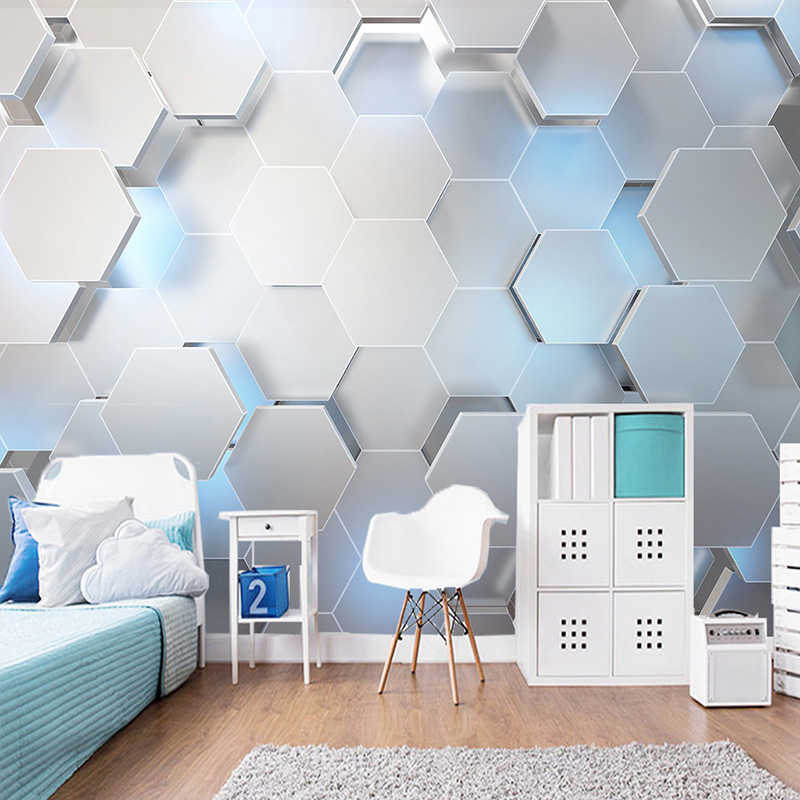 Custom Any Size Mural Wallpaper 3D Stereo Geometry Modern Wall Painting KTV Bar Background Wall Decor Wall Papers For Walls 3 D wallpaper for walls 3 d modern trdimensional geometry 4d tv background wall paper roll silver gray wallpapers for living room