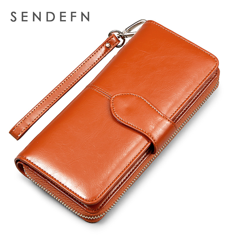 Sendefn fashion women wallets split leather long zipper hasp clutch purse large capacity lady hand