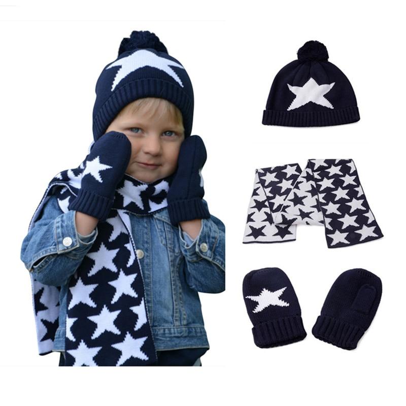 Niños niñas punto bufanda y guante conjunto niños otoño invierno moda niños azul marino impresión de la estrella 3 unidades conjuntos regalo de navidad