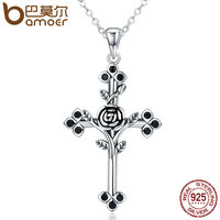 BAMOER Authentic 925 Sterling Silver Rose Flower Leaf Cross Pendant Necklaces For Women Sterling Silver Jewelry