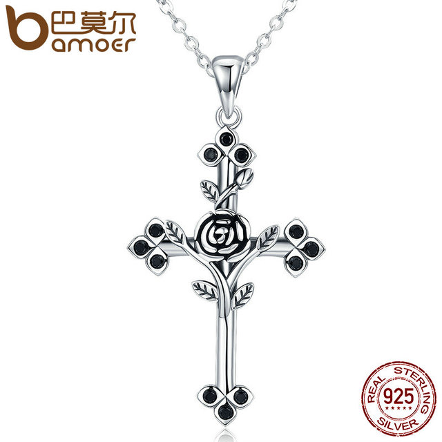 BAMOER Authentic 925 Sterling Silver Rose Flower Leaf Cross Pendant Necklaces For Women Jewelry
