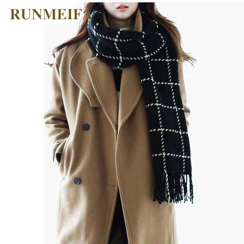 [RUNMEIFA] Plaid   Scarf   Women 2016 black fashion warm women   scarves   winter   scarf     wrap   shawl Blanket   Scarf   Luxury Brand