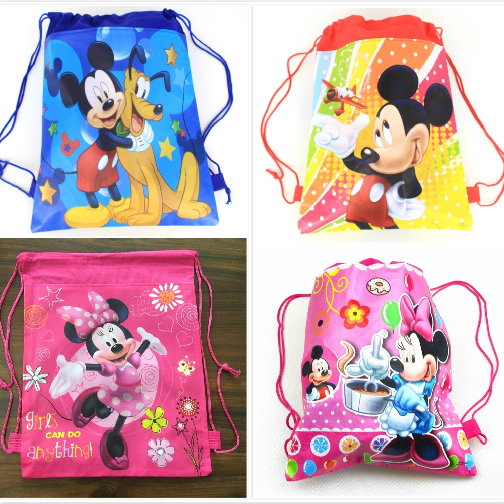 1pcs Minnie mickey moana trolls non-woven bag fabric backpack child travel school bag decoration mochila drawstring gift bag(China)