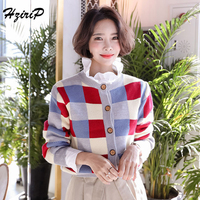Hzirip 2018 Women Autumn Classic Plaid Sweater Cardigan Single Breasted Women Short Coat Fashion Long Sleeve Autumn Winter Tops