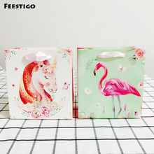 1pcs 15cm Small Gift Bag With Handle Paper Flamingo Unicorn Party Packing Wedding Birthday Box Favors For Guests