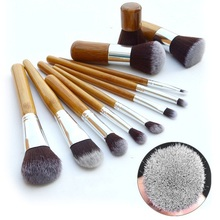 11pcs Professional Women Makeup Cosmetic Brush Set Eyebrow Eyeliner Foundation Powder Bamboo Brushes with Draw String Bag