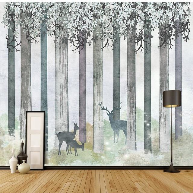 Us 1123 42 Offniestandardowe Fototapety Salonu Kawiarnia Sypialnia łazienka Tapety ścienne Malowane Woods Skandynawskie Sztuki Tle ściany W