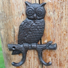 Vintage Black Single Owl On Branch Design Home Garden Wall Decor Cast Iron Hook with Two Hangers