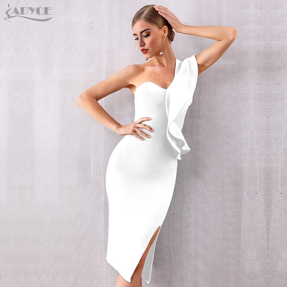 ADYCE 2020 新夏の女性の包帯ドレスセクシーなワンショルダーフリルボディコンクラブドレス Vestidos セレブイブニングパーティードレス -    グループ上の レディース衣服 からの ドレス の中