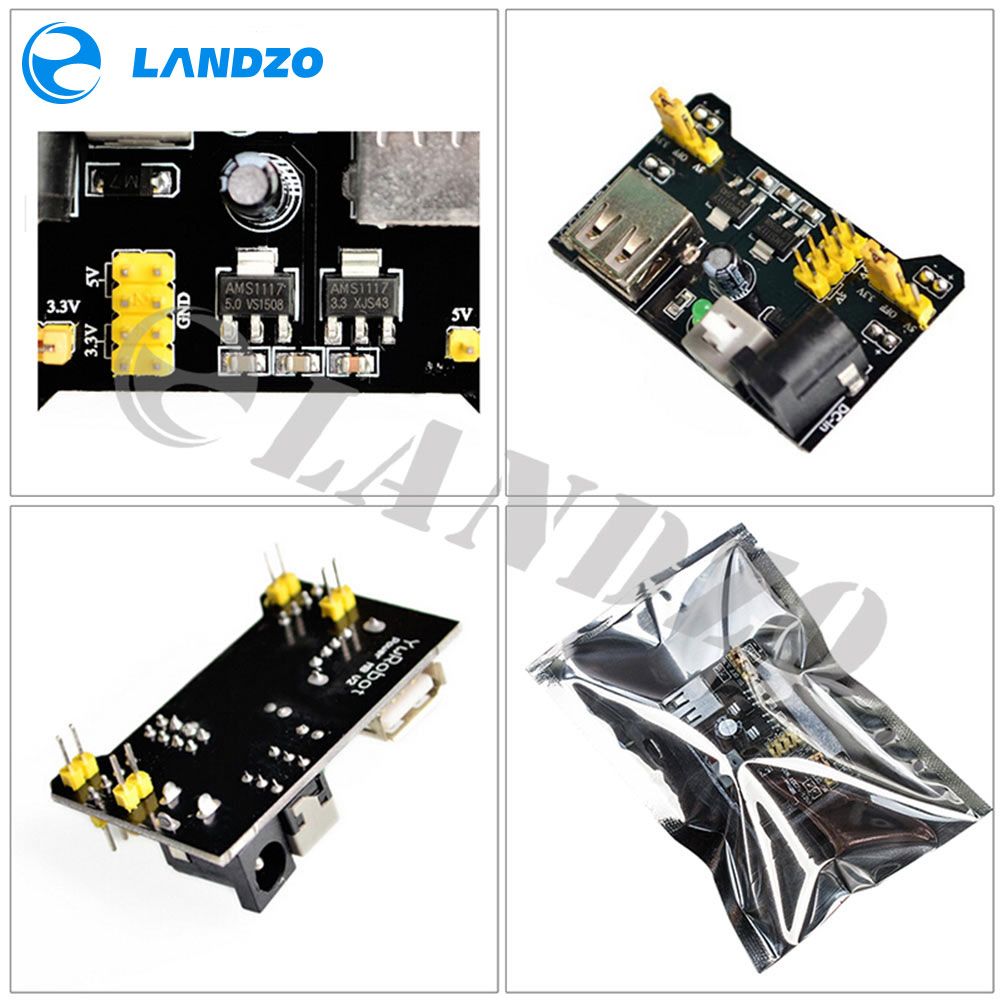 MB102 platine de prototypage module d'alimentation + MB-102 830 points kit de carte à pain Prototype sans soudure + 65 fils de cavalier flexibles