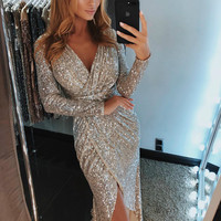 Lighting Women Sparkly Bodycon Sequined Dress Sexy Split Midi Party Dress Long Sleeve Sheath Sequin Dress Clubwear Night Dresses