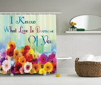 Floral Art Print Watercolor Painting I Know What Love is Because of You Fabric Shower Curtain Green Blue Red Orange Purple Pink