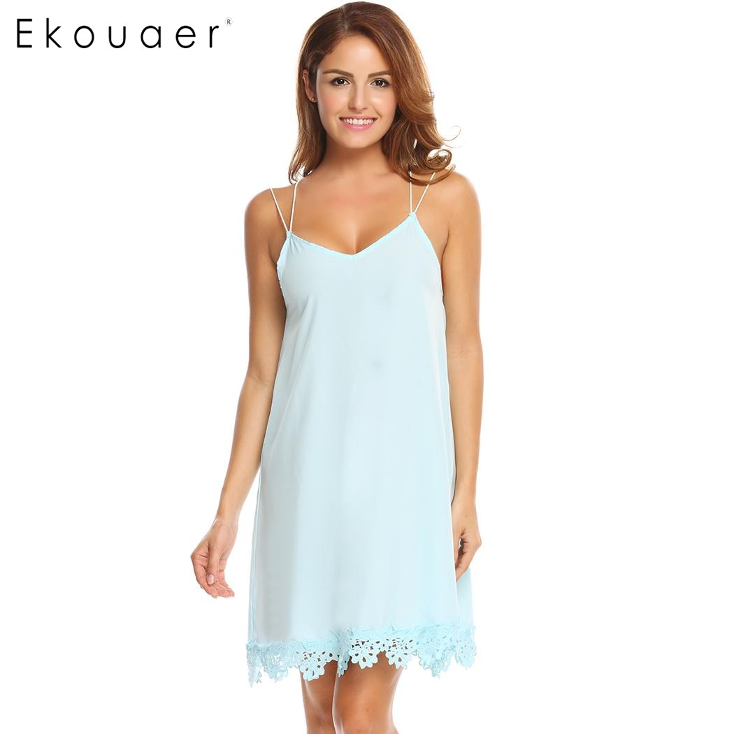 Ekouaer 2018 New Women Night Dress Sexy Spaghetti Strap Backless Lace Trim Babydoll Chemise Sleepwear Nightgown Nightwear