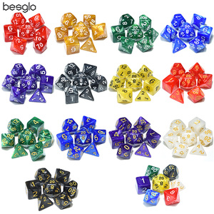 7pcs/set Polyhedral Dice Pearlized Effect for RPG Board Game DnD Dice Games D4 D6 D8 D10 D% D12 D20(China)