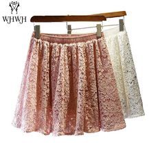 2017 Fashion Lace Mini Skirts Women High Waist Slim A-line Skirts Female White Pink Brief Cute Pleated Skirts Ladies Tutu Skirt