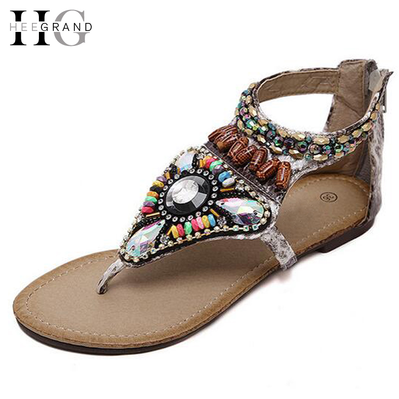 HEE GRAND Women's Summer Sandals Roman Gladiator Flip Flops Shoes Woman Beading Zip Flats Sandal Women Shoes Size Plus XWZ3526 hee grand women gladiator sandals simple flat with buckle flip fflops woman summer casual shoes xwz3789