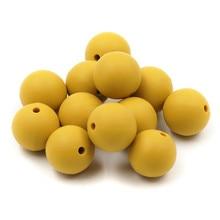 JOJOCHEW 50pcs venta caliente mostaza granos de silicona amarilla 12-19mm ronda de silicona masticación cuentas de alimentación grado alimenticio 2017 nuevo color