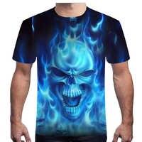 Nueva camiseta de calavera de manga corta con estampado 3D camiseta calavera y Rosa de cuello redondo de los hombres de media manga camisa de verano para hombre talla grande 6XL