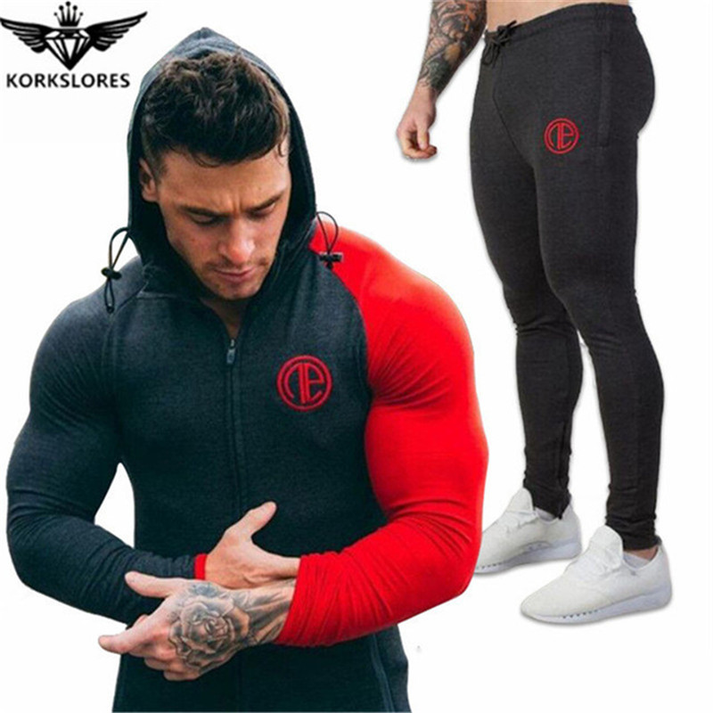 2018 Mens track suit is suitable for mens casual mens fall suit mens Bodybuilding leisure suit ...