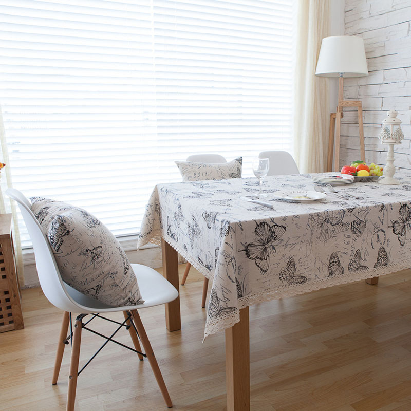 Image 4 - Countryside Letter Butterfly Print Tablecloth Lace Solid Rectangular Dining Table Cover Obrus Tafelkleed Kitchen Home Decorative-in Tablecloths from Home & Garden