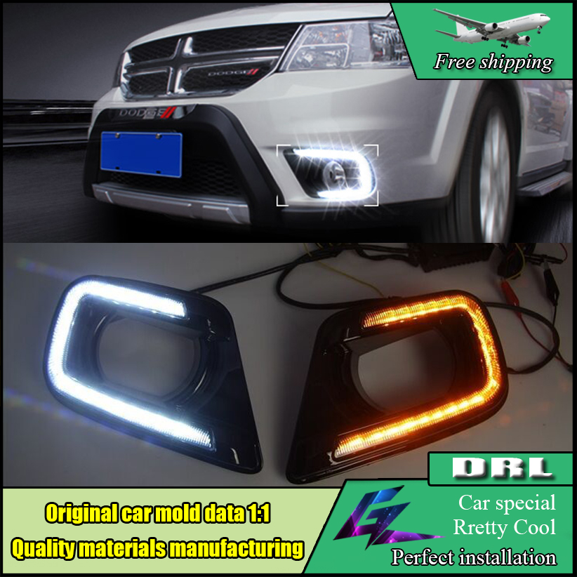 Car Styling LED DRL For Dodge JCUV Journey LED DRL 2014-2016 LED Daytime Running Light Fog Light Signal Parking Accessories akd car styling led drl for kia k5 2012 2014 newoptima eye brow light led external lamp signal parking accessories