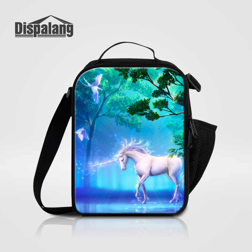 Dispalang Lifelike Cartoon Unicorn Print Lunch Bags For Girls Cute Animal Horse Insulated Cooler Bag For Children Food Lunch Box
