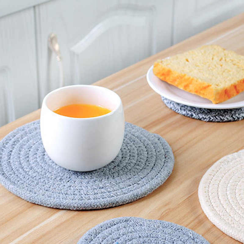 Solid Placemats Linen Non Slip Table Mat Round Design Table Ramie Insulation Pad Kitchen Accessories Decoration Home Pad Couster