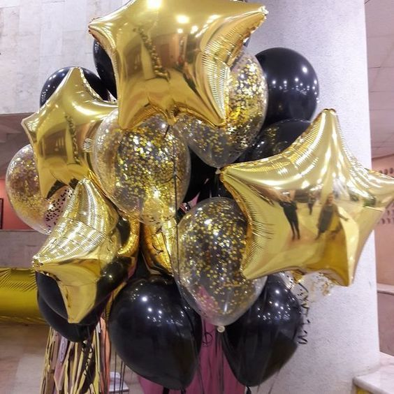 15pcs/lot gold confetti 12inch pearl black Latex balloon with 18 inch gold star wedding birthday party decor inflatable air ball