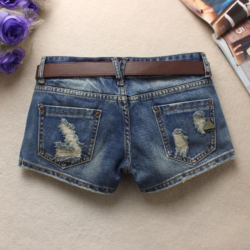 LAUWOO 2018 Summer Women's Trendy Hole Denim Shorts Fashion Beggars Shorts Jean Low waist Shorts Without Belt 1