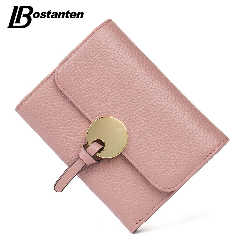 BOSTANTEN 2017 Cow Genuine Leather Women Wallets Trifold Short Wallet ID Card holder Coin Purse Pockets