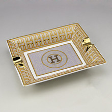 Lujo Gadgets de gama alta mosaico círculo patrón H 2 titular de porcelana de cerámica cenicero del cigarro con caja de regalo
