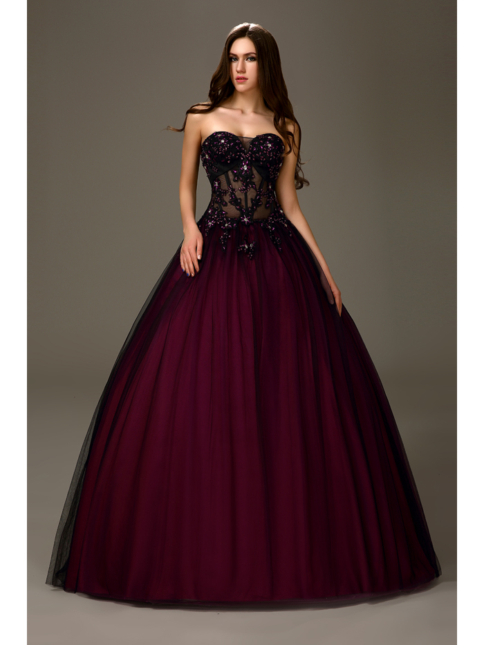 Sexy Black Purple Two Tones Long Ball Gown Princess Strapless Sheer Bodice Girls Prom Dresses 2019