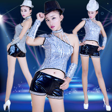 New Adult Sequin Tuxedo Jazz Dance Modern Costume Dance Performance DS Stage wear