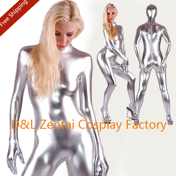 Fullbody Silver Shiny Metallic Spandex Zentai Suit