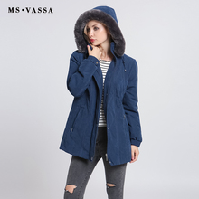 MS VASSA Ladies Parkas 2017 New Autumn Winter padded Women jacket detachable hood nice faux fur