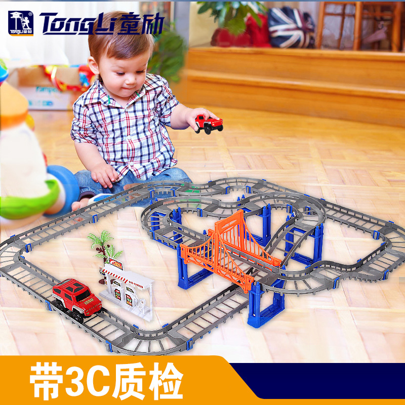 Electric Racing rail car kids train Railway Track Racing Road Transportation Building Slot Sets Children DIY toys 2 Colors