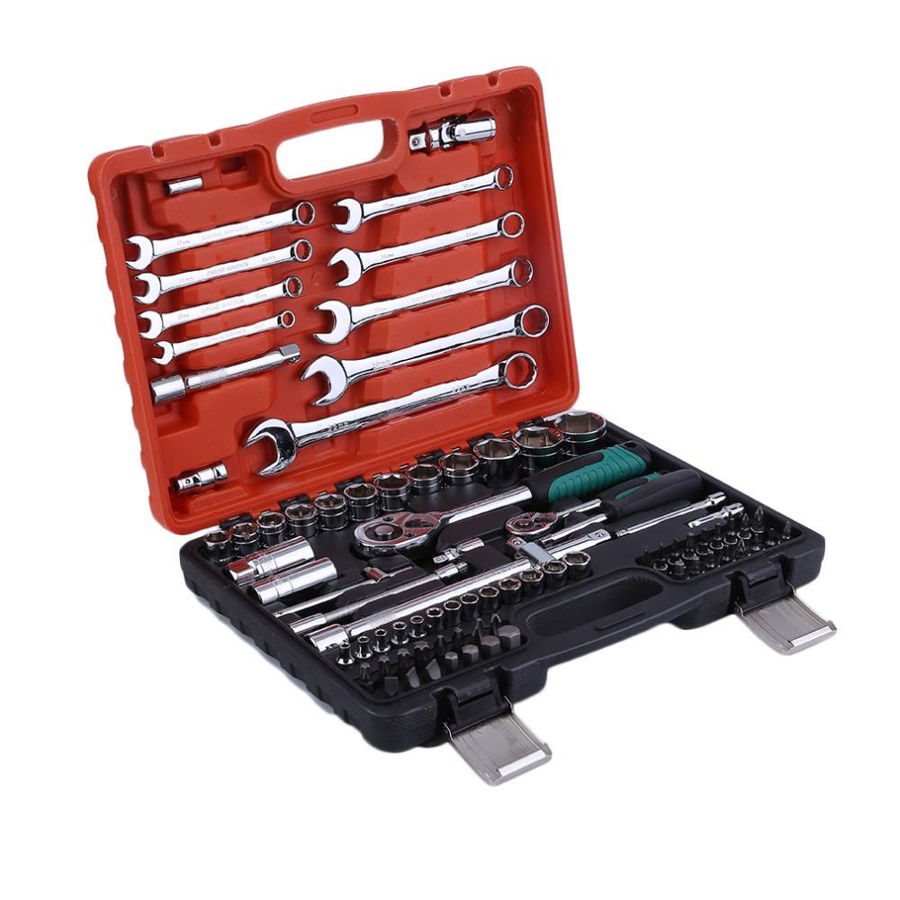 82pcs Keys Spanner Car Vehicles Repair Tool Ratchet Torque Wrench Combo Tools Kit Auto Repairing Hand Tool Set 2018 yofe combination wrench canvas bag 6pcs set spanner wrench a set of key ratchet skate tool gear ring wrench ratchet handle tools