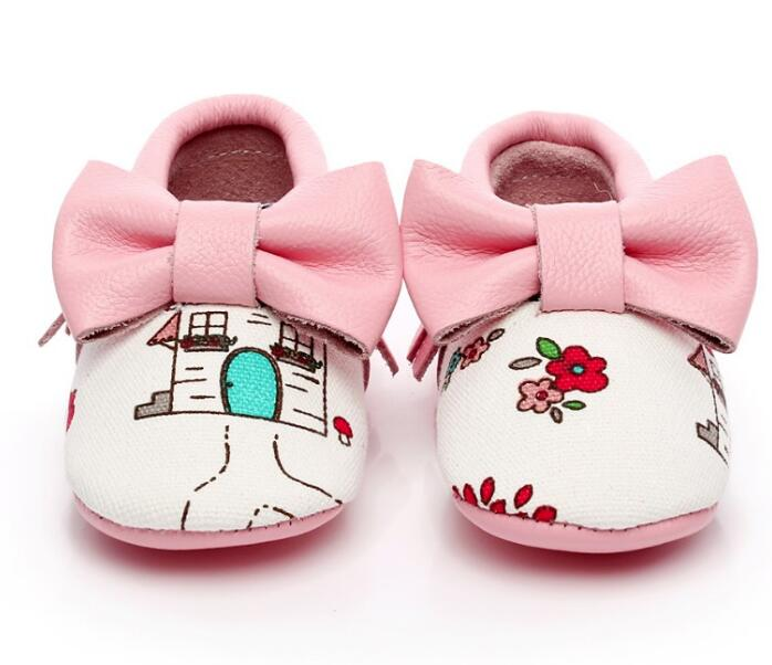 Hot Sale Genuine Leather Newborn Baby Moccasins Shoes Cute Bow Infant Girls Shoes Princess First Walkers Soft Sole Shoes