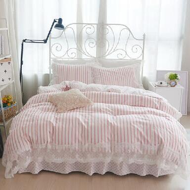 100 Cotton Lace Princess Bedding Set Pink White Stripe Dots Twin