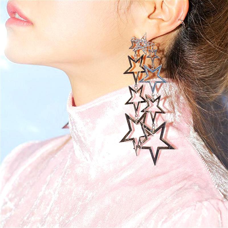 Statement Stars Long Earrings For Women Fashion Party Jewelry Bijoux Big Earrings Gift