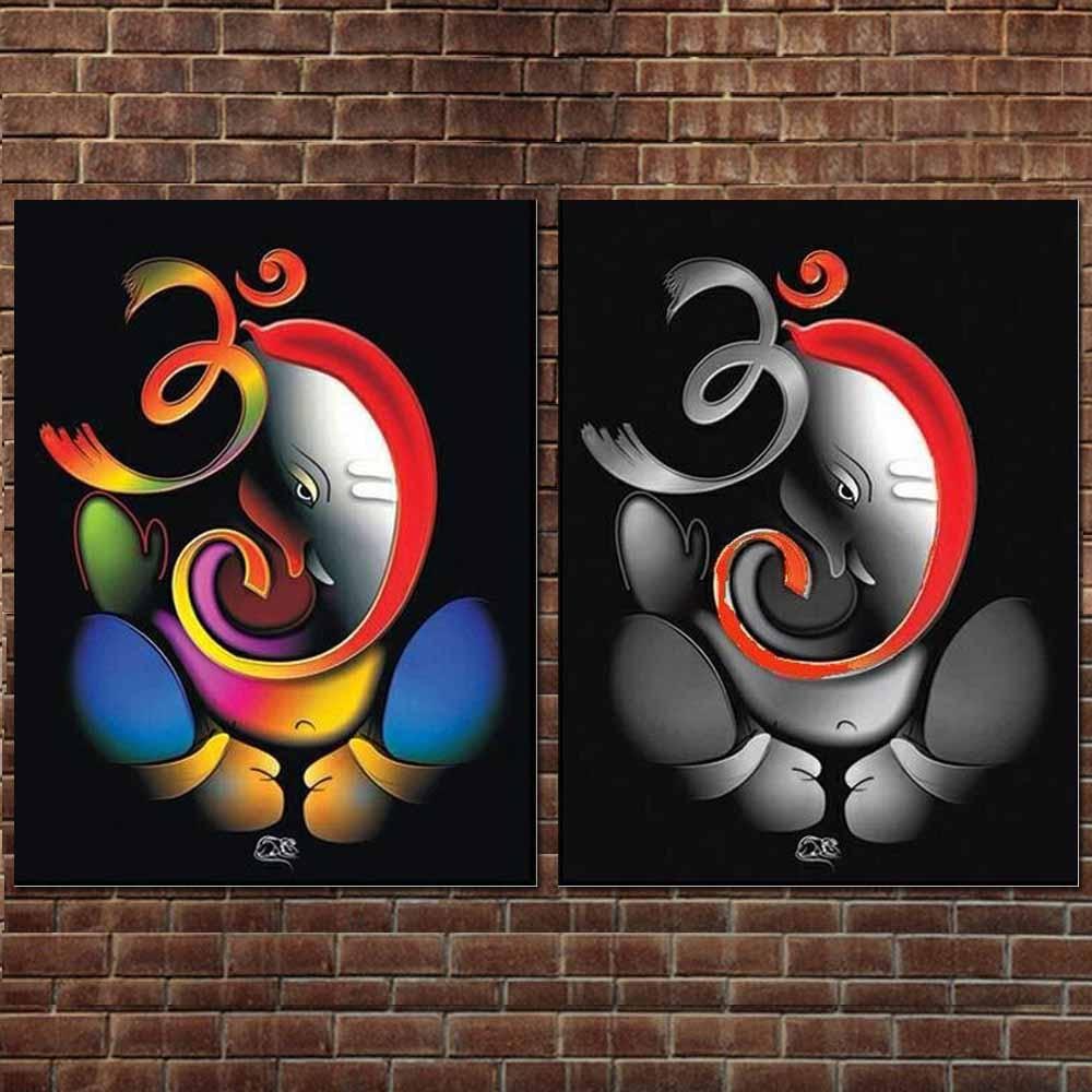 100% kézzel festett Om Ganesha Ganpati olajfestmény vászonra - Lakberendezés